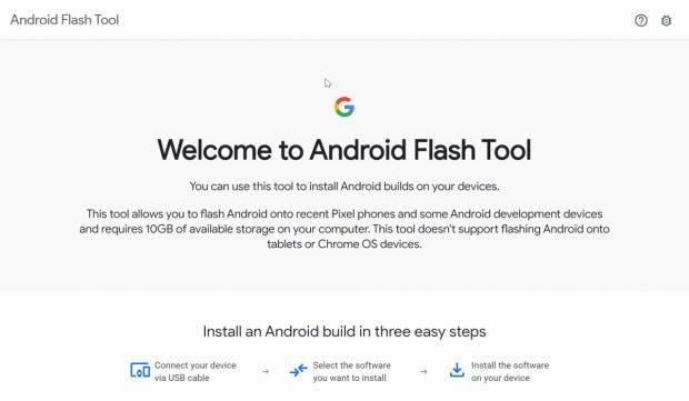 So begrüßt euch das neue Android-Flash-Tool aus dem Hause Google. (Screenshot: t3n)