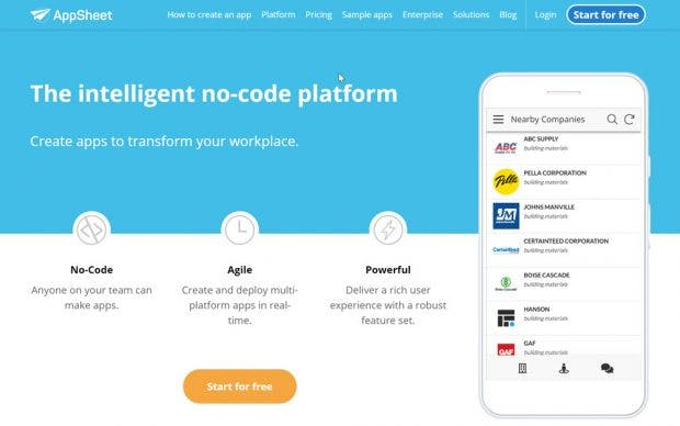 Appsheet is Google's new offering for low-code app development. (Screenshot: t3n)