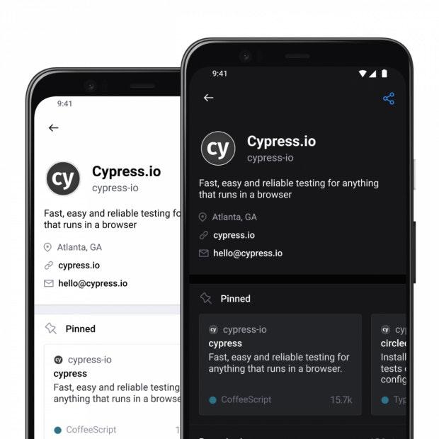 Light- und Dark-Mode von GitHub Mobile.
