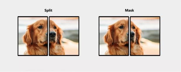 Die unterschiedliche Behandlung von Bildern über zwei Screens. (Foto: Microsoft)