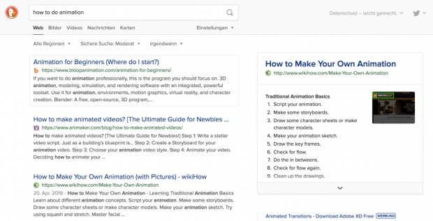 """Screenshot der Duckduckgo-Suchanfrage """"How to do animation"""""""