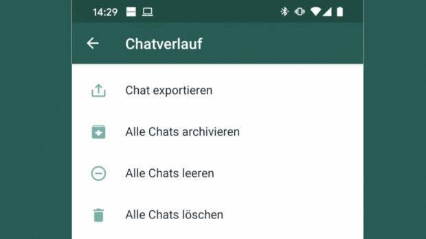 Der Export von Whatsapp-Chats ist in Deutschland nicht mehr möglich. (Screenshot: t3n)