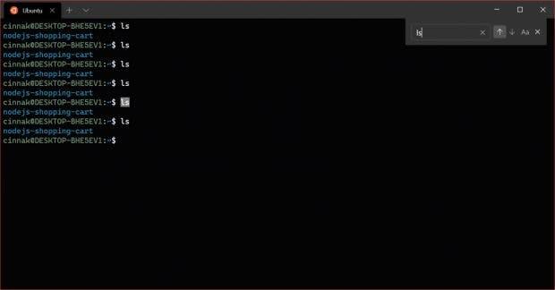 Windows Terminal: Neben dem Retro-Look gibt es auch eine verbesserte Suche. (Screenshot: Microsoft)