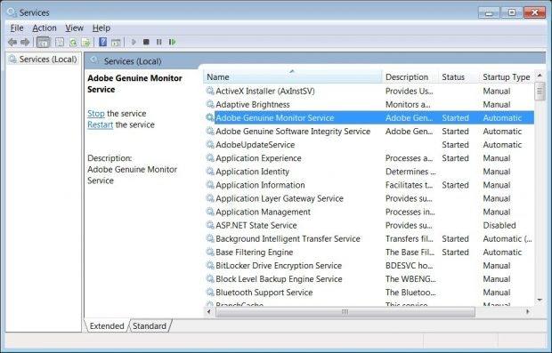 Dienste-Manager in Windows 7.
