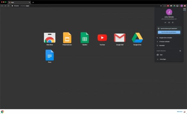 App-Fenster in Google Chrome.