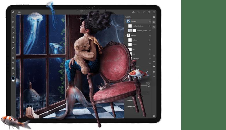 Ein Projekt ist in Photoshop für das iPad geöffnet