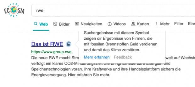 RWE als Klimazerstörer: Markierung mit Kohlekraftwerk-Symbol.