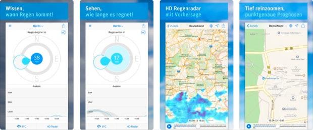 Raintoday bietet ein präzises Regenradar auf dem iPhone.
