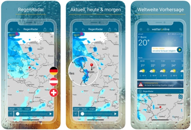 Regenradar-App von Wetteronline