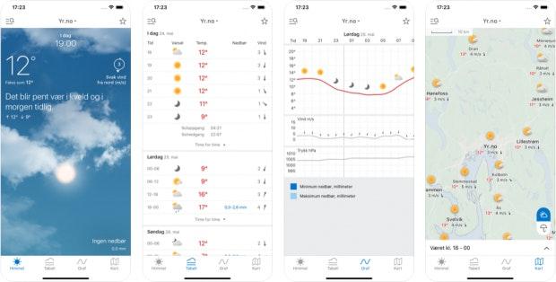 Wetter-App Yr für das iPhone
