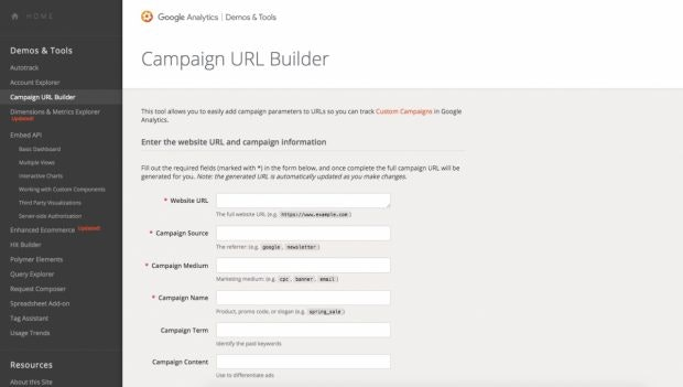 Googles Campaign URL Builder