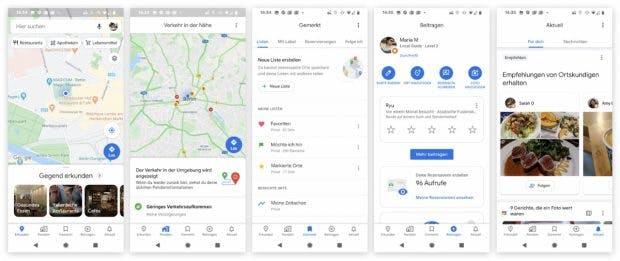So sieht die neue Tab-Navigation in Google Maps aus. (Bild: Google)