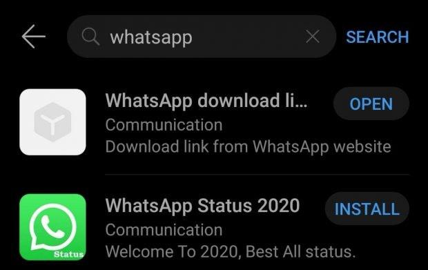 Huawei App-Gallery – nicht offiziell gelistete Anwendungen wie Whatsapp lassen sich per Direktlink zum Hersteller dennoch installieren. (Screenshot: t3n)