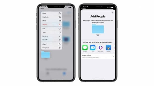 iOS 13.4 bringt iCloud-Folder-Sharing. (Screenshot: Macrumors)