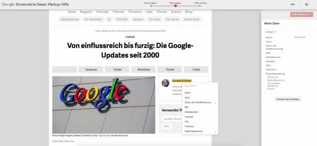 Googles Markup-Hilfe für strukturierte Daten