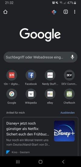 Google Chrome auf Android.