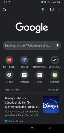 Google Chrome auf Android.