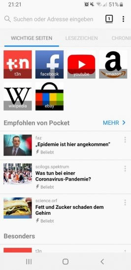 Firefox auf Android.