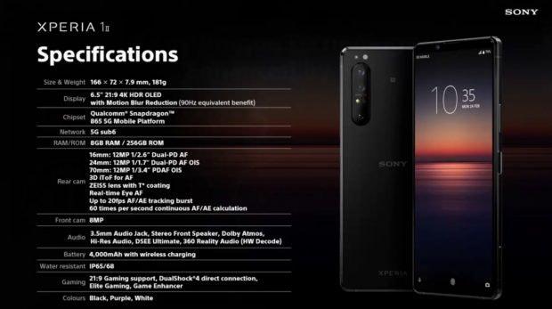 Spezifikationen des Sony Xperia 1 II. (Screenshot: t3n)