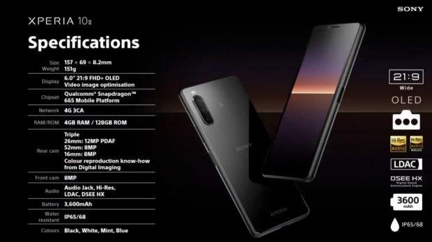 Spezifikationen des Sony Xperia 10 II. (Screenshot: t3n)