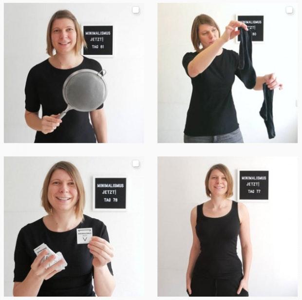 ünstlerin Jasmin Mittag dokumentiert ihren 100-Tage-Selbstversuch auf Instagram (@minimalismusjetzt). (Foto: Instagram/ minimalismusjetzt)