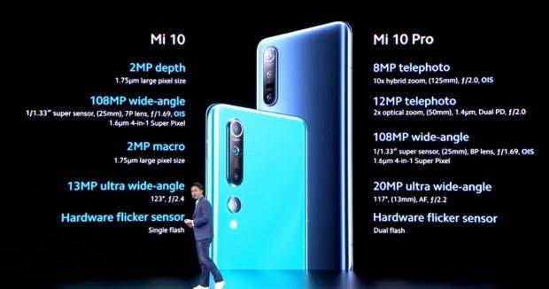 Die Kamera-Specs des Mi 10 und M10 Pro. (Screenshot: t3n)