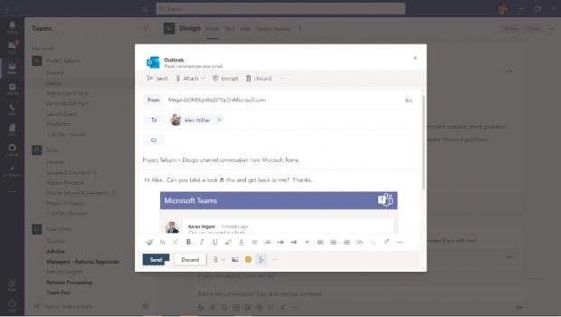 Teams-Chat als E-Mail zu Outlook exportieren.