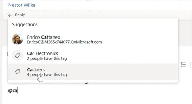 Benutzer-Tags in Microsoft Teams.