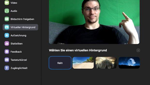 Am besten und hardware-schonendsten funktionieren die virtuellen Hintergründe mit einem Greenscreen, der in eurem Rücken hängt. (Screenshot: t3n)
