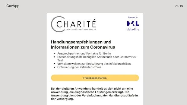 Corona: Covid-19-App der Charité gibt Erkrankten Hilfestellung