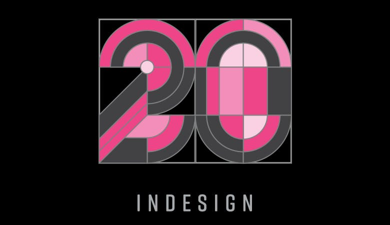 Das Logo zum 20. Jubiläum von Adobe InDesign auf schwarzem Hintergrund