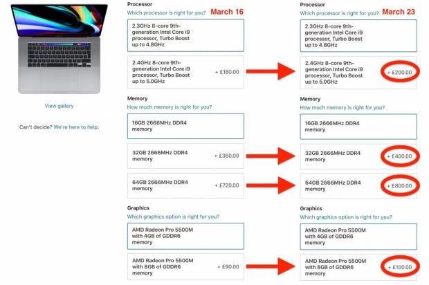 Apple BTO Preise für das Macbook Pro 16 vom 16. und 23. März 2020. (Screenshot: Macrumors)