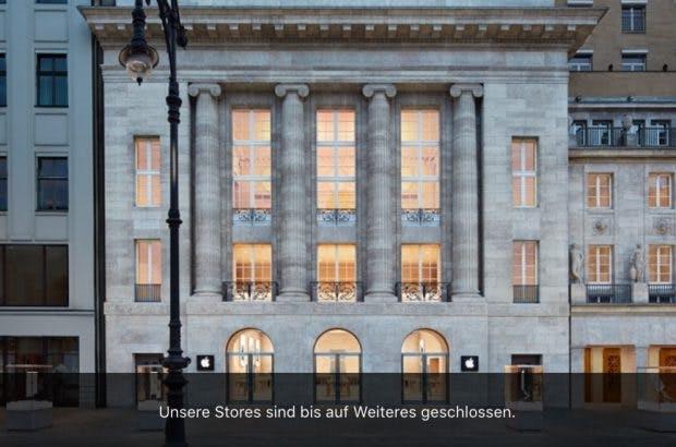 """Apple Store am Kurfüstendamm in Berlin: """"Bis auf Weiteres geschlossen"""" (Screenshot: t3n; Apple)"""