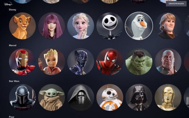 Disney Plus - an avatar from the Disney world can be selected for each user profile.  (Screenshot: t3n)