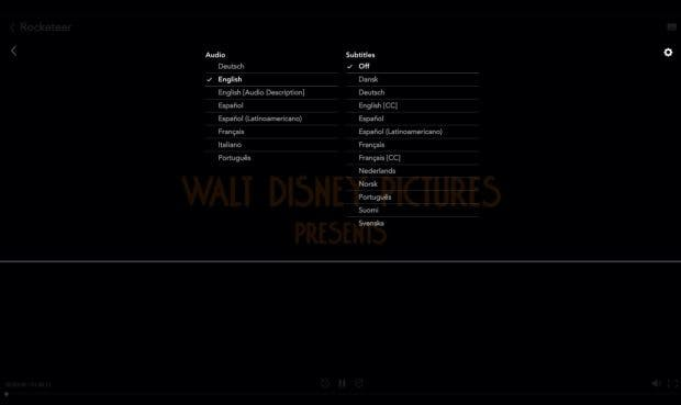 Disney Plus: In the language selection you will find a small gear ... (Screenshot: t3n)