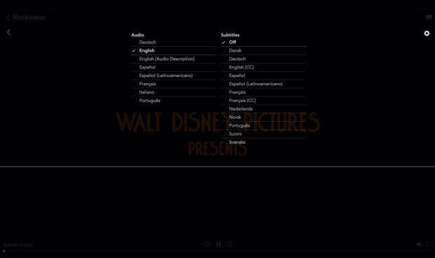 Disney Plus: In der Sprachauswahl findet ihr ein kleines Zahnrad ... (Screenshot: t3n)