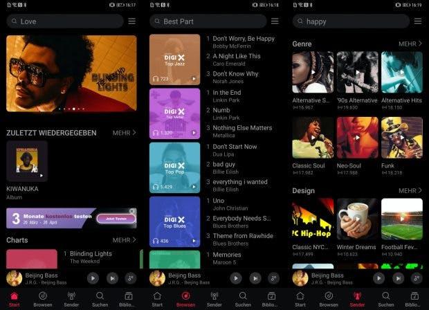 Ein Blick auf die Nutzeroberfläche von Huawei Music. (Screenshots: t3n)