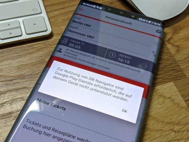 Fehler: DB Navigator ohne Google-Dienste auf dem Huawei Mate 30 Pro. (Foto: t3n)