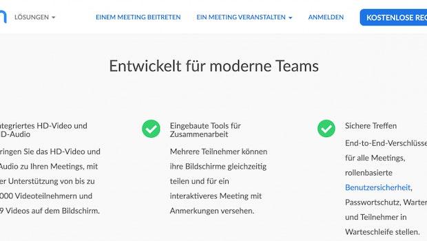 Auf Zooms Website wird Ende-zu-Ende-Verschlüsselung versprochen –  siehe Absatz rechts. (Screenshot: zoom.us / t3n)