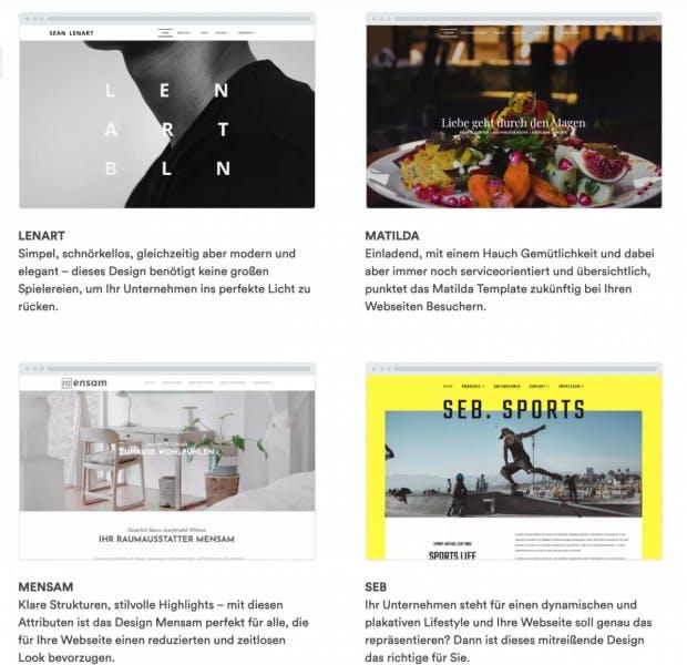Homepage-Templates von Web4Business