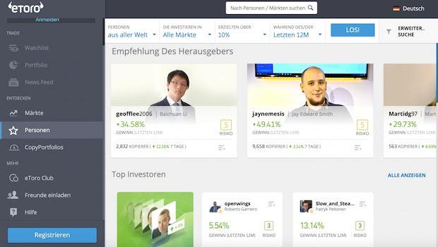 Etoro ist der wohl am meisten genutzte Social-Trading-Anbieter. (Screenshot: t3n)