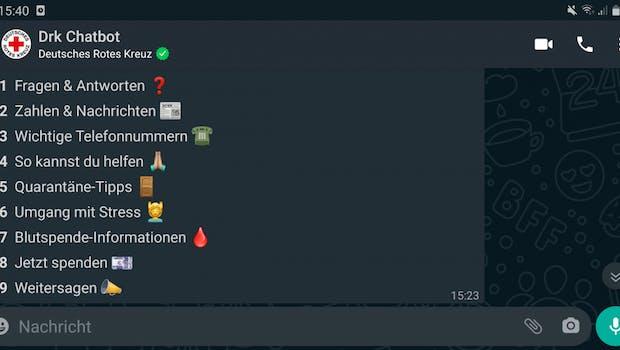 Das DRK beantwortet per Chatbot Fragen rund um Corona. (Screenshot: t3n.de)