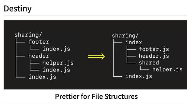 Destiny: Prettier für die File-Struktur eurer Codebase
