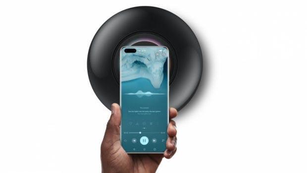 EMUI 10.1 bringt Huawei Share One Tap. (Der abgebildete Speaker ist kein Homepod, sonder Huaweis Sound X.) (Bild: Huawei)