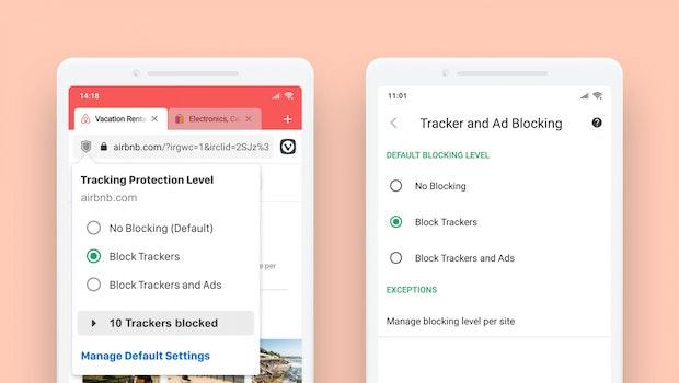 Auch in der Android-Variante lassen sich Werbung und Tracker mit den passenden Blockern abwehren. (Grafik: Vivaldi)