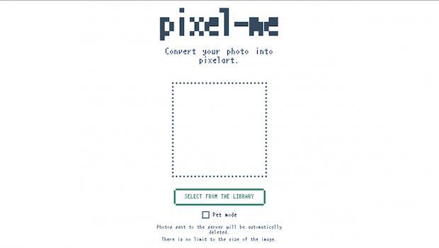 """Das Interface von Pixel-me ist schlicht. Bilder lassen sich nur von eurer Festplatte hochladen, der """"Pet Mode"""" kann zu besseren Ergebnissen führen. (Bild: t3n)"""