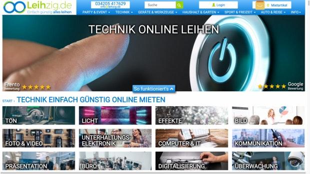 Leihzig.de Webseite Rubrik online Technik mieten