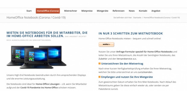 Mietnotebook.de Website