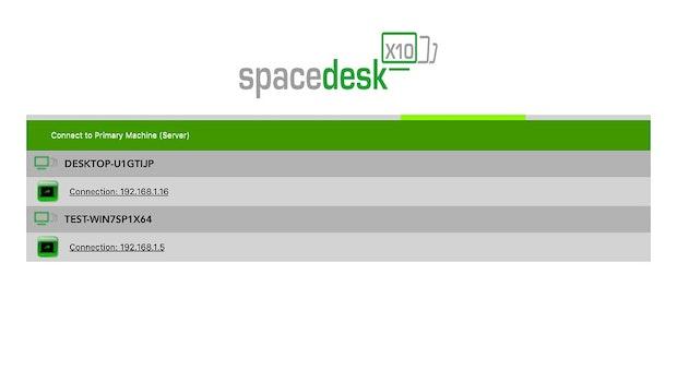 Im Start-Interface des Spacedesk-Clients wählt ihr zwischen den verfügbaren Servergeräten im gleichen Netzwerk aus, deren Screen ihr erweitern oder spiegeln wollt. (Bild: Spacedesk)