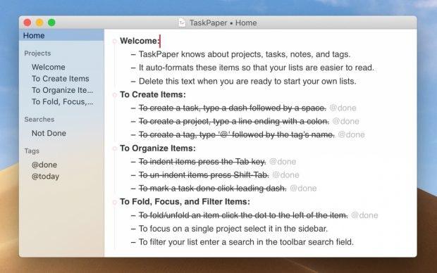 Taskpaper auf Mac